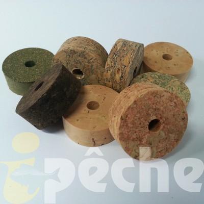 Rondelles de liège pour la construction de poignées de canne à pêche.