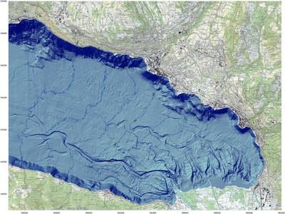 Carte bathymétrique du haut lac Léman